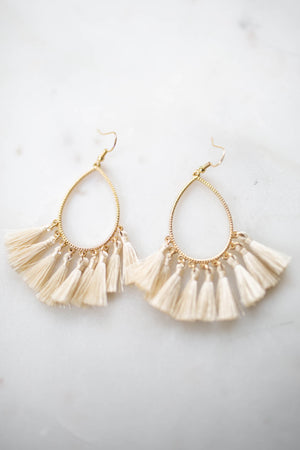 Drop It Fringe Earring - Cream