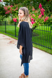 On With It Kimono Blouse - Black