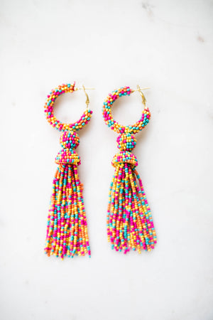 Multi Seed Beaded Tassel Earrings