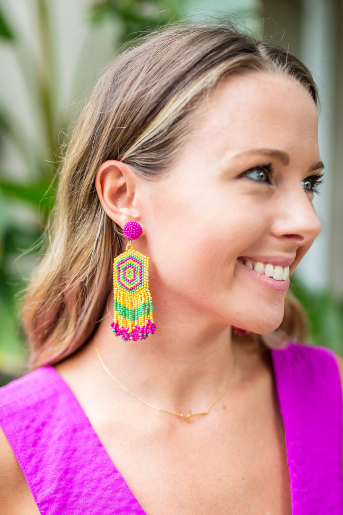 Beads Of Color Earring - Yellow Multi - A Cut Above Boutique