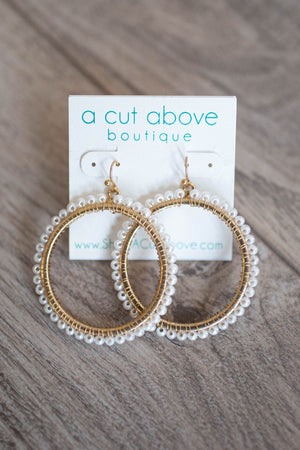 Goes Around Pearl Beaded Hoops - A Cut Above Boutique