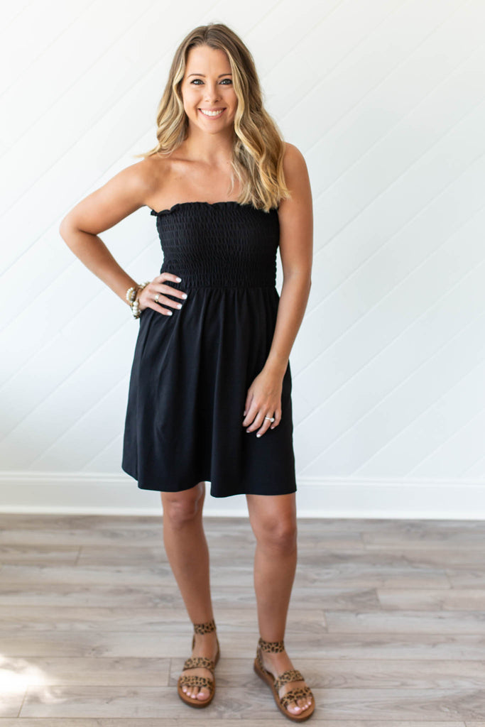 Strapless Smocked Dress - Black - A Cut Above Boutique