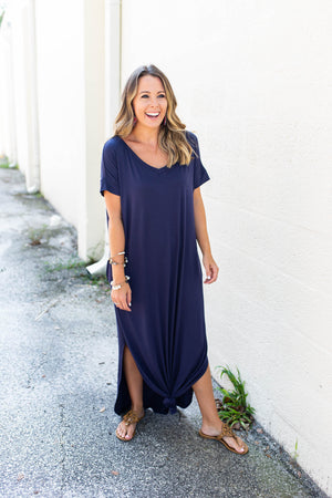 Just Stay Maxi Dress - Navy - A Cut Above Boutique