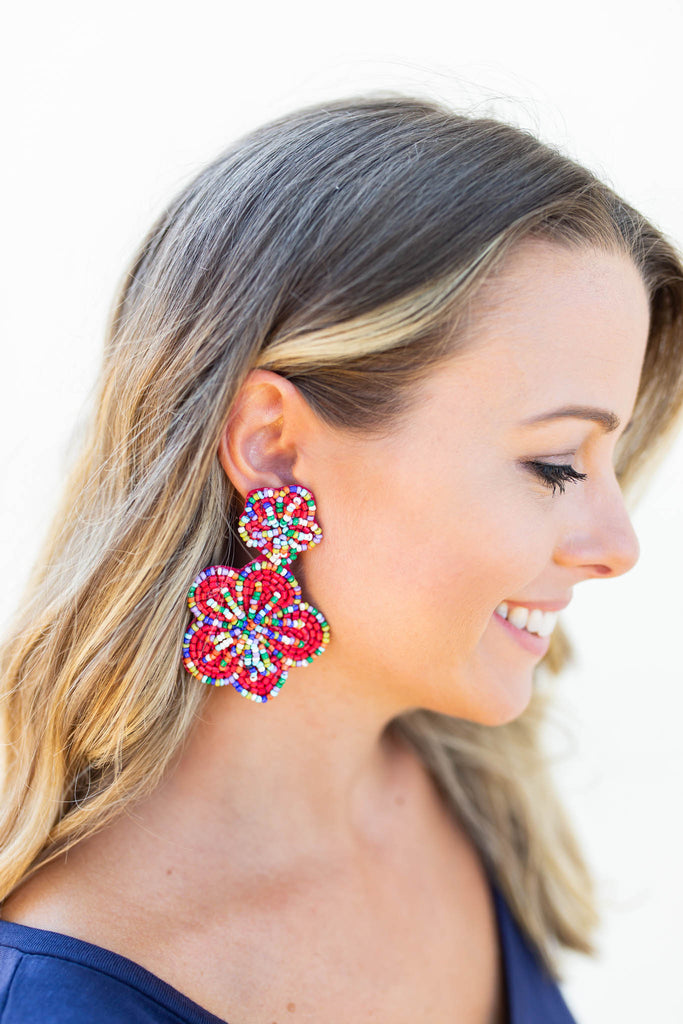 Flower Power Earrings - Pink - A Cut Above Boutique