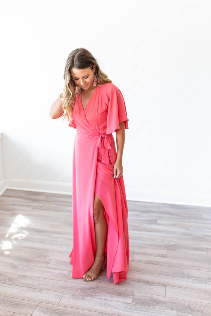 Goddess Wrap Maxi Dress - Flamingo Pink - A Cut Above Boutique
