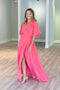 Goddess Wrap Maxi Dress - Flamingo Pink