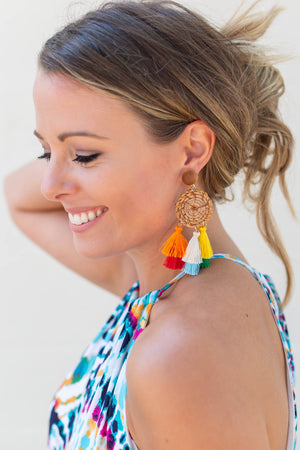 Keep Your Eyes Tassel Earrings - Multi