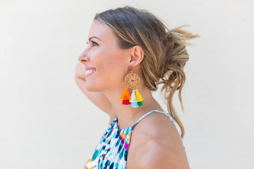 Keep Your Eyes Tassel Earrings - Multi - A Cut Above Boutique