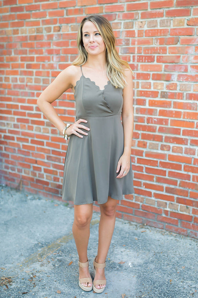 Love Lies Scallop Skater Dress - Slate Green - A Cut Above Boutique