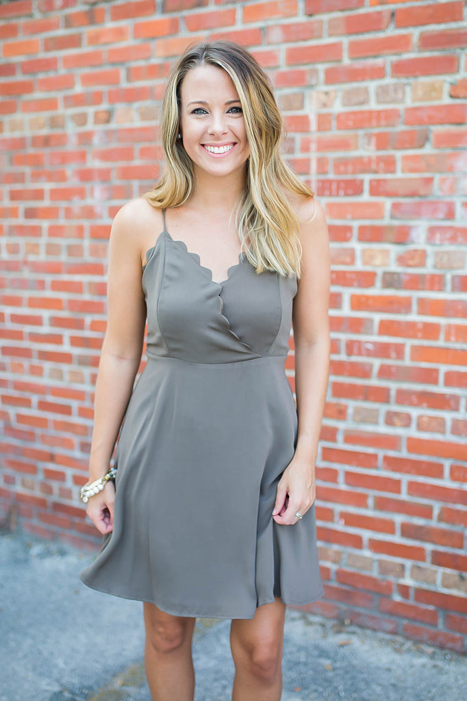 Love Lies Scallop Skater Dress - Slate Green