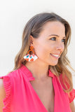 Fan Floral Earring - Orange - A Cut Above Boutique