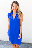 Tia Ruffle Shift Dress - Royal Blue - A Cut Above Boutique