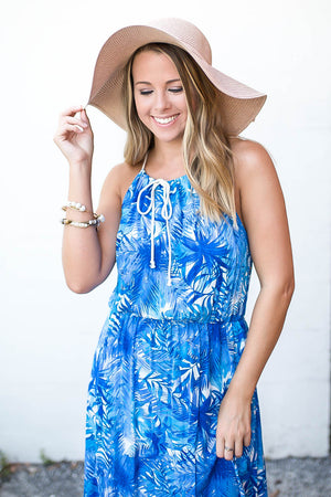 Sea Blue Halter Maxi Dress