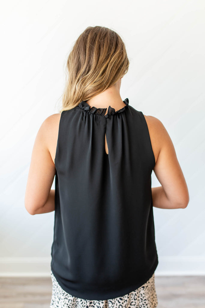 Frills Pleated Mock Tank - Black - A Cut Above Boutique