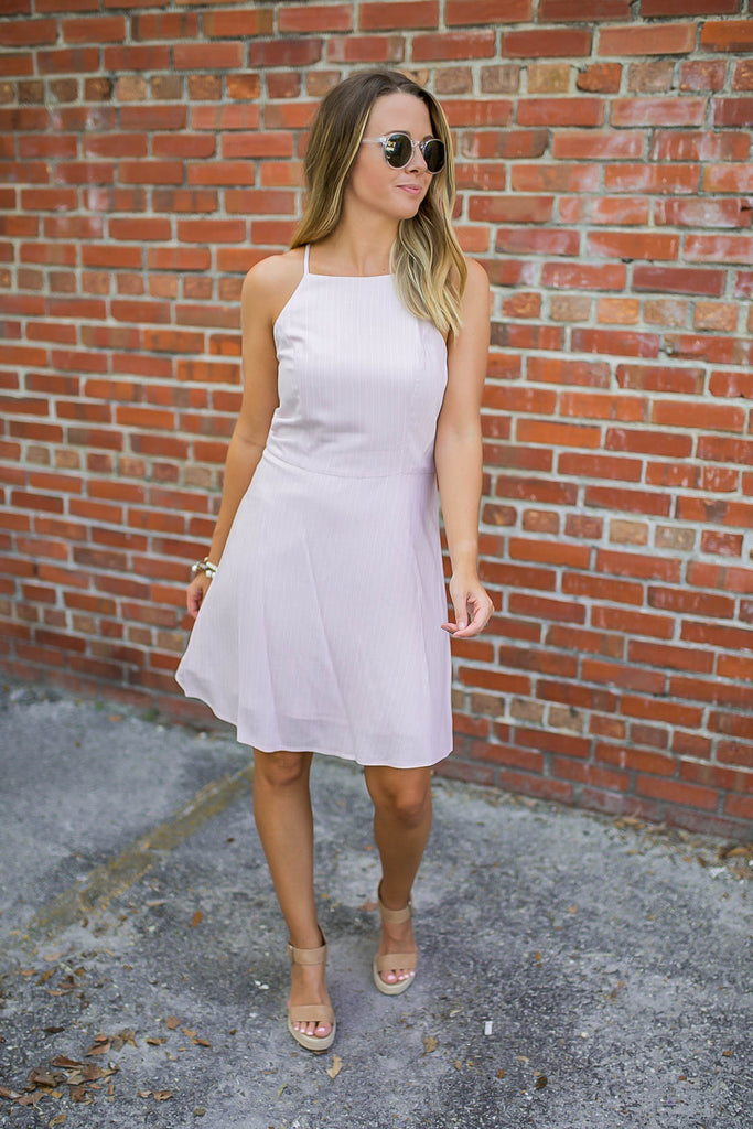 Never Felt Skater Dress - Blush Pinstripe - A Cut Above Boutique