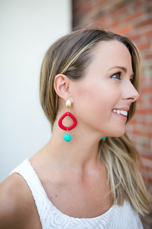 Hands Up Red Dangle Earring