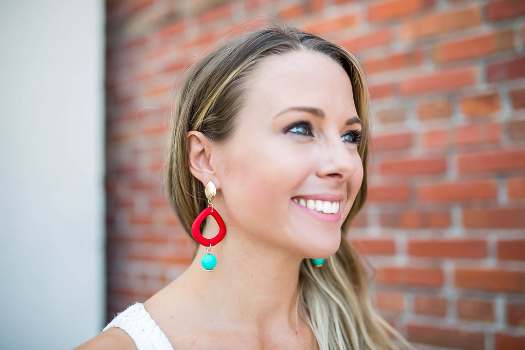 Hands Up Red Dangle Earring - A Cut Above Boutique