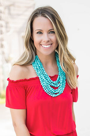Stacked Up Beaded Necklace - Turquoise - A Cut Above Boutique