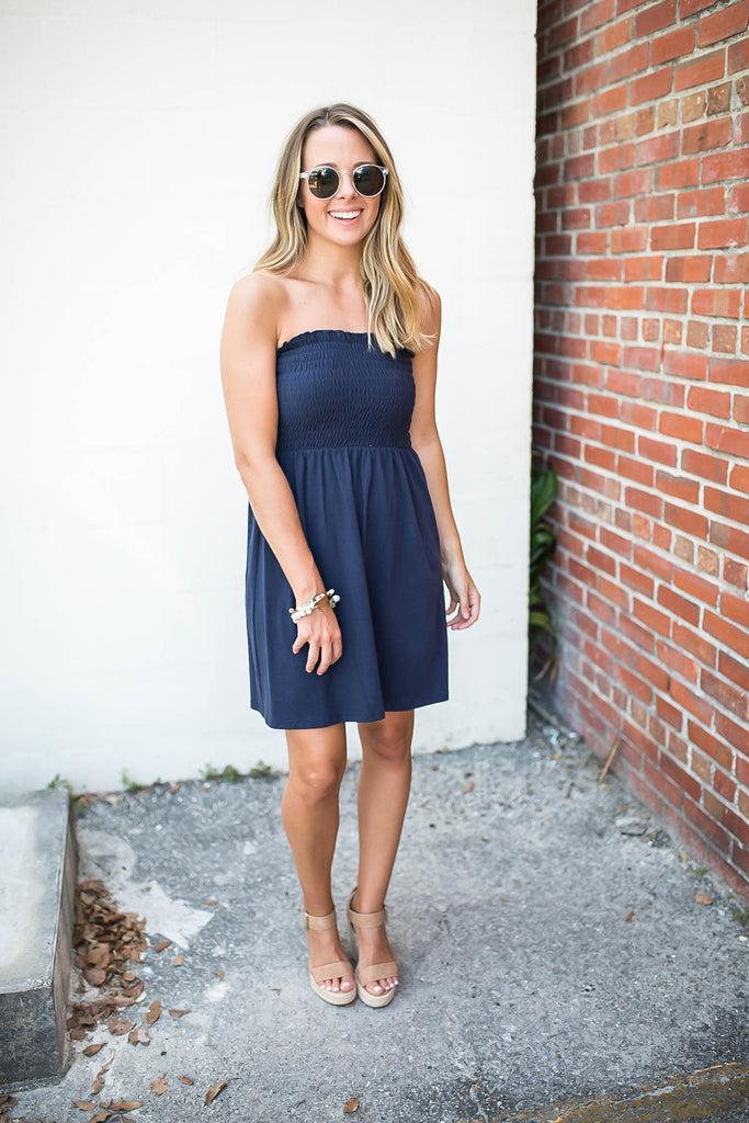 Strapless Smocked Dress - Navy - A Cut Above Boutique