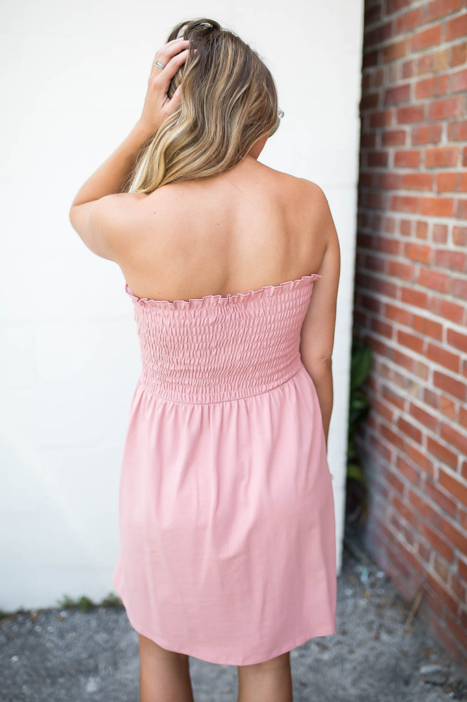 Strapless Smocked Dress - Rose - A Cut Above Boutique