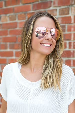 Aviator Sunglasses – Pink - A Cut Above Boutique