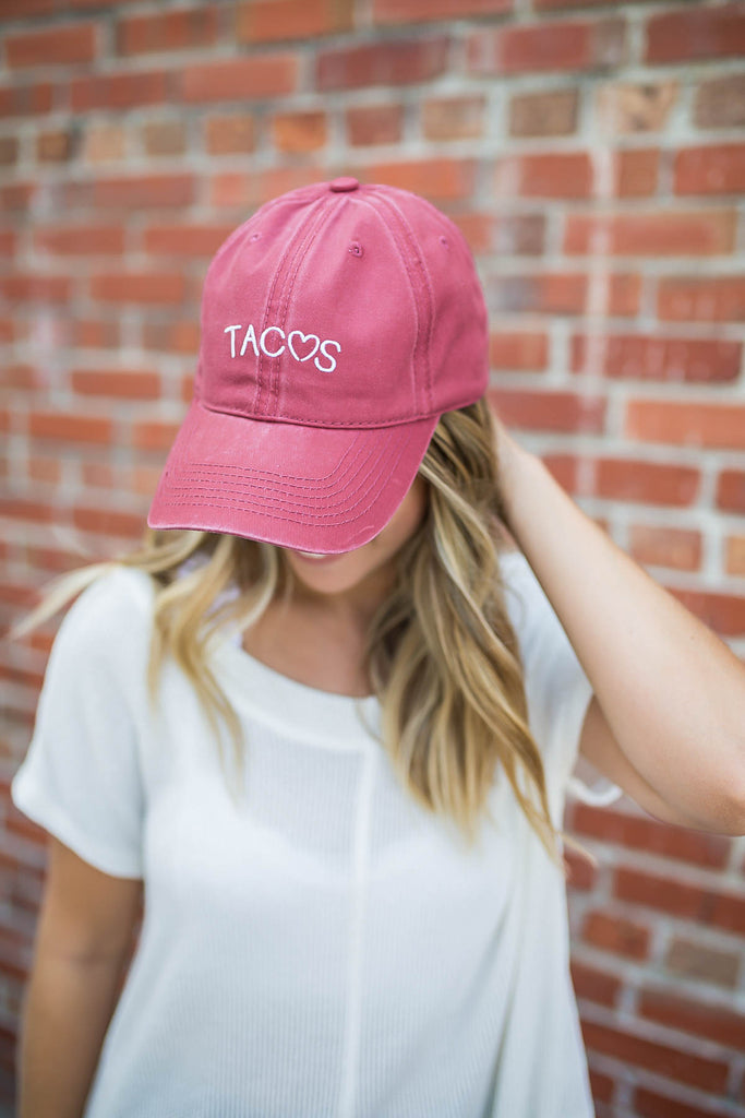 Love Tacos Baseball Hat - Burgundy - A Cut Above Boutique