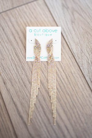 Rhinestone Fringe Earring - Gold - A Cut Above Boutique