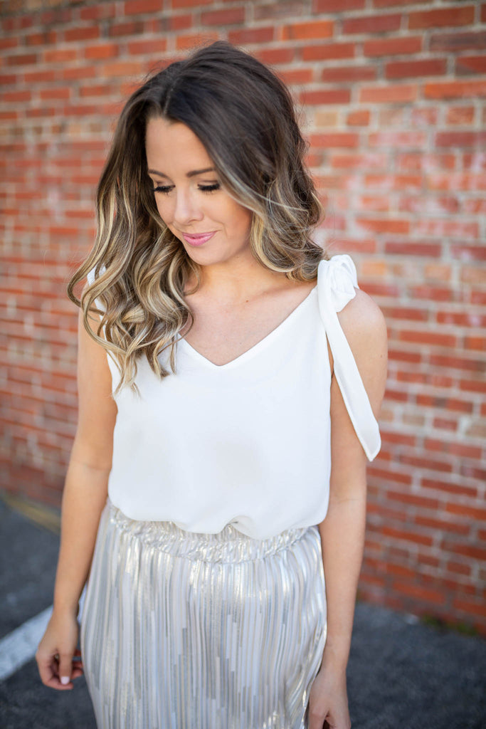 Tied Just Right White Tank - A Cut Above Boutique