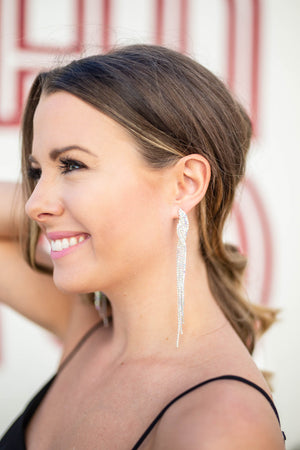 Rhinestone Fringe Earring - Silver - A Cut Above Boutique