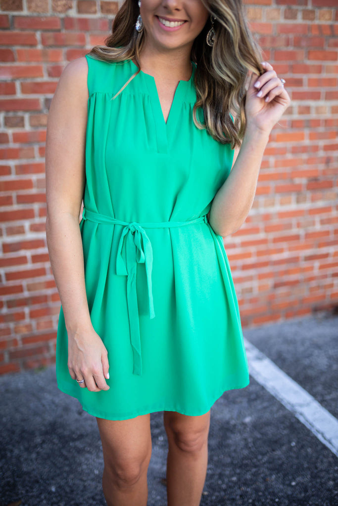 When You Call Tie Dress - Kelly Green - A Cut Above Boutique