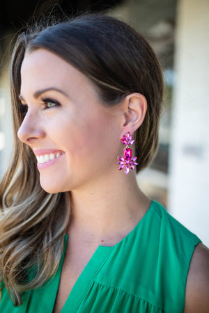 Pink Rhinestone Dangle Earrings - A Cut Above Boutique