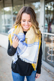 Meet Me Blanket Scarf - Blue + yellow - A Cut Above Boutique