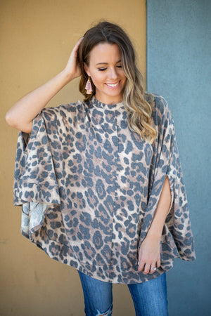 Leopard Smocked Cape - A Cut Above Boutique
