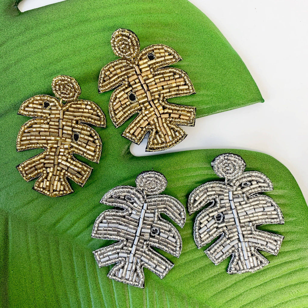 Prep Obsessed Wholesale - Metallic Palm Leaf Beaded Statement Earrings - A Cut Above Boutique