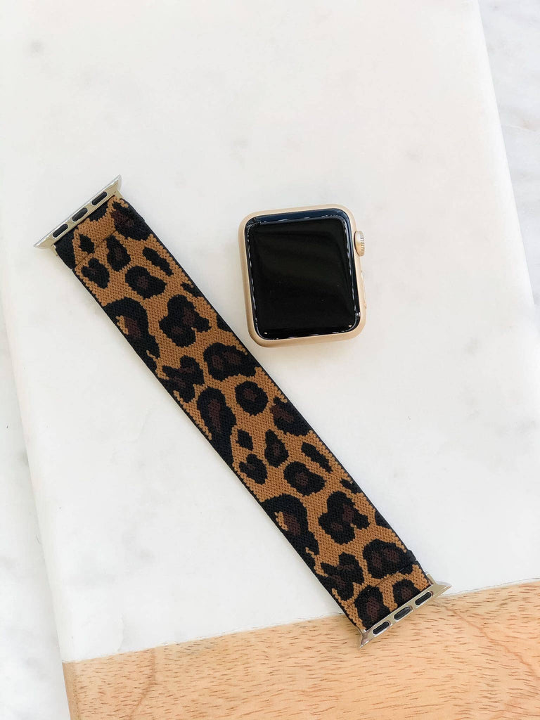 Prep Obsessed Wholesale - Brown Leopard Print Stretch Watch Band - A Cut Above Boutique