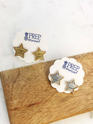 Metallic Thread Star Studs - Silver