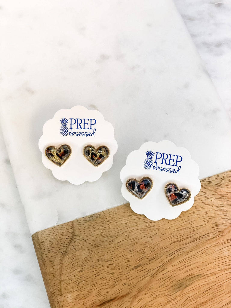 Prep Obsessed Wholesale - Glitter Leopard Heart Stud Earrings - A Cut Above Boutique