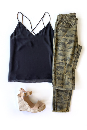 Take It Scallop Tank - Black - A Cut Above Boutique