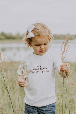 Saved by Grace Co. - Mama Needs Coffee and Jesus Toddler Tee - A Cut Above Boutique
