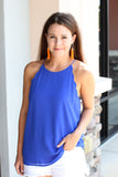 Scallop Tank - Royal Blue - A Cut Above Boutique