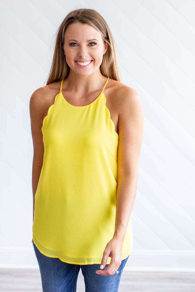 Scallop Tank - Yellow - A Cut Above Boutique
