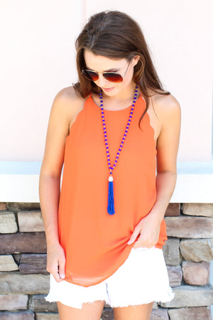 Scallop Tank - Orange - A Cut Above Boutique