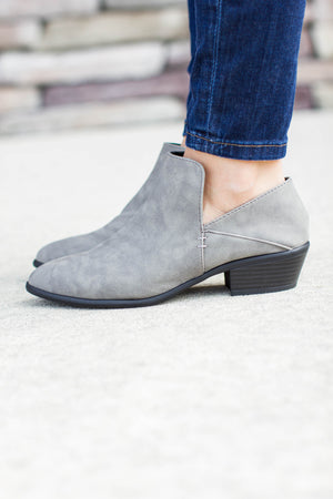 Run The Streets Grey Bootie - A Cut Above Boutique