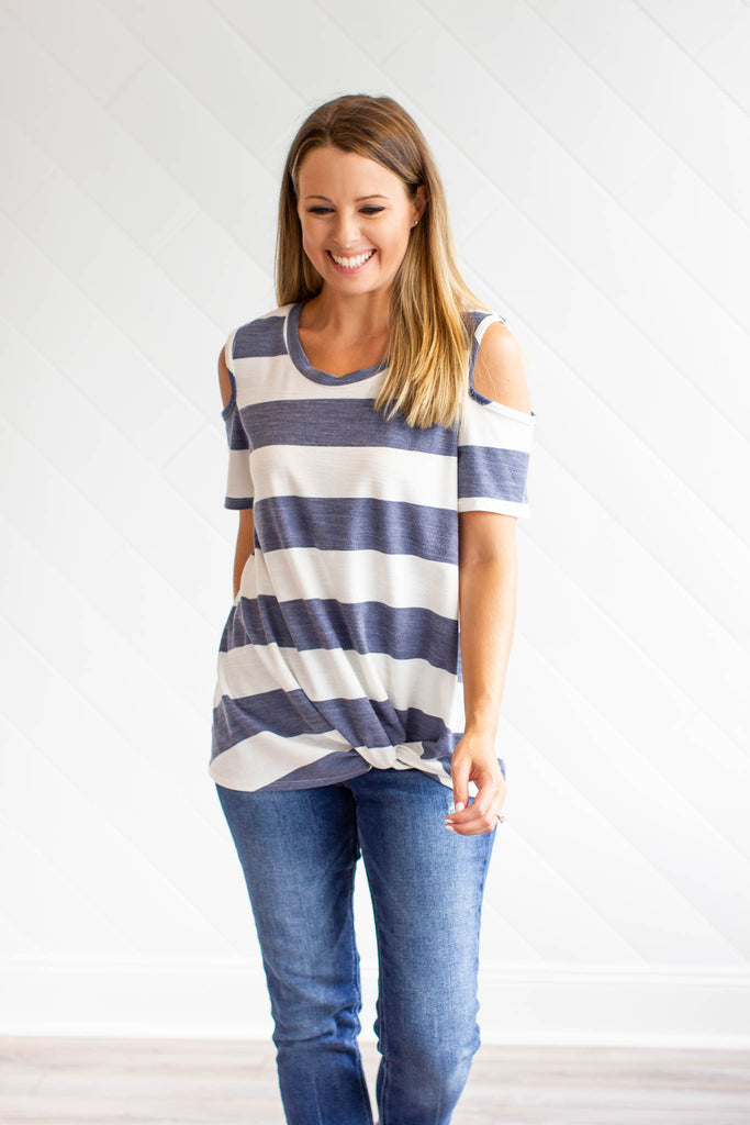 Like It Or Knot Cold-Shoulder Top - Blue + Ivory - A Cut Above Boutique