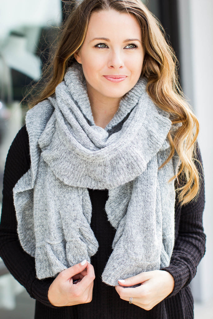 Ruffle Up Scarf - Grey - A Cut Above Boutique