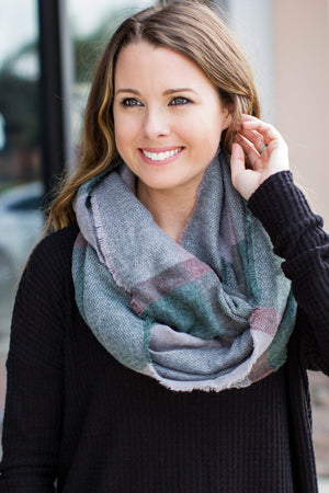 Plaid Infinity Scarf - Green - A Cut Above Boutique