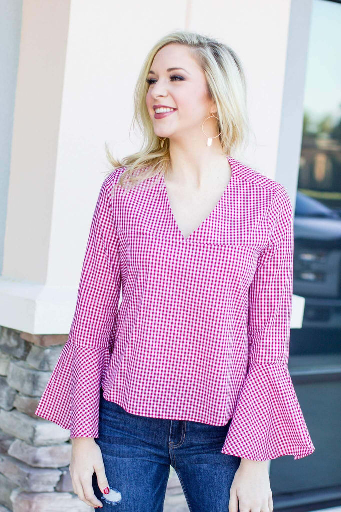 Bell Of Gingham Top - Red - A Cut Above Boutique