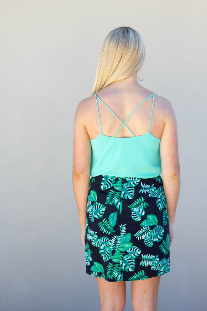 Take It Scallop Tank - Aqua - A Cut Above Boutique