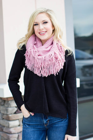 Fringe Scarf -  Pink - A Cut Above Boutique