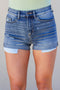 Cuffed High Rise Medium Wash Shorts